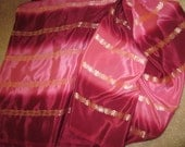 reserved 5 yards pink gold stripes sari fabric