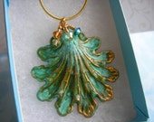 SHOP SALE-Victorian Shell- Blue/Green Brass Patina - Pendant/Necklace - 24kt Gold Plated Chain