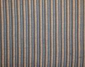 DAMAGED Homespun Fabric | Cotton Material | Stripe Fabric |  Blue, Natural And Olive Ticking Stripe | 2 Pieces 41 x 44  and 23 x 44
