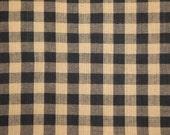 Homespun Fabric   Black Large Check Fabric   Farmhouse Fabric   Check Cotton Fabric   Quilt Fabric   Doll Making Fabric   1 Yard