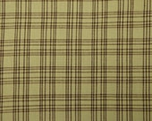 Plaid Homespun Material Marlene & Lacy Troyer Plaids MT-012 Spring Green And Brown 58 x 44