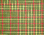 FLAWED Plaid Cotton Homespun Fabric Green And Red 39 x 44