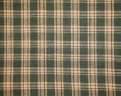 Homespun Fabric | Plaid Fabric | Cotton Fabric |Rag Quilt Fabric | Green Basic Plaid Homespun Fabric | 30 x 44