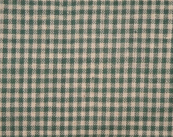 FLAWED Cotton Homespun Fabric 1 Yard Green Small Check FLAWED