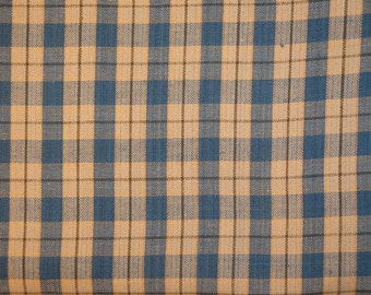Homespun Fabric | Cotton Fabric | Sewing Fabric | Craft Fabric | Quilt Fabric | Blue, Natural And Khaki Large Plaid 1 Yard
