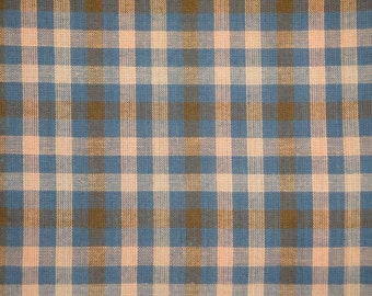 Homespun Fabric     Large Check Fabric   Cotton Fabric  Quilt Fabric   Blue, Natural And Khaki Plaid Fabric  1 Yard