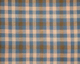 Homespun Fabric     Large Check Fabric   Cotton Fabric  Quilt Fabric   Blue, Natural And Khaki Plaid Fabric  1 Yard