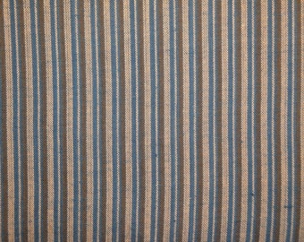 Homespun Fabric | Cotton Fabric | Stripe Fabric |  Blue Natural And Olive Ticking Stripe | 30 x 44