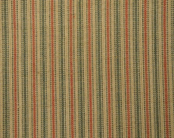 FLAWED Red And Green Ticking Fabric | Stripe Fabric  | Homespun Fabric  |  Holiday Ticking Stripe Fabric | 1 Yard