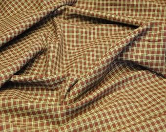Homespun Fabric Small Plaid Barn Red, Green And Natural 1 Yard