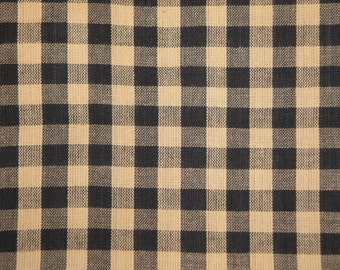 Homespun Fabric | Black Large Check Fabric | Farmhouse Fabric | Check Cotton Fabric | Quilt Fabric | Doll Making Fabric | 1 Yard