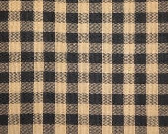 Homespun Fabric Black Large Check Fabric 25 x 44