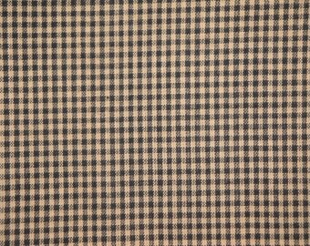 FLAWED Check Material | Cotton Material | Quilt Material | Craft Material | Homespun Cotton Black Small Check Material 20 x 44