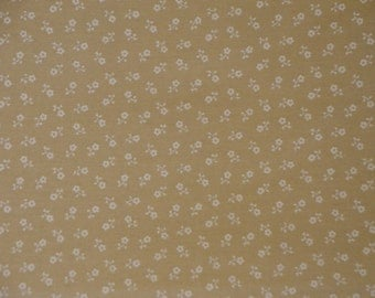 SALE SALE SALE Calico Fabric | Cotton Fabric | Quilt Fabric | Apparel Fabric | White Flowers On Natural Fabric |  1 Yard
