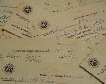 Vintage Canceled Checks From Cripple Creek Colorado Listing of 12