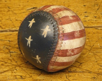 Americana Baseball | Stars And Stripes Baseball | Hand Painted Baseball | Repurposed Baseball | Flag Baseball