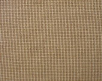 Cotton Homespun Fabric | Primitive Fabric | Quilt Fabric | Doll Making Fabric | Wheat Fine Check | Fabric Sold By The Yard