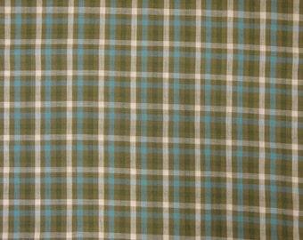Cotton Homespun Fabric | Check Fabric | Cotton Fabric | Blue, Khaki, Olive and Natural Check Fabric | 1 Yard
