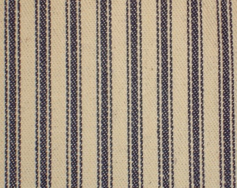 Old Time Ticking | Blue Ticking |  Woven Stripe Ticking |  Cotton Ticking Cloth  | 1 Yard