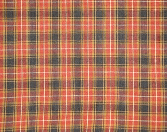 Cotton Homespun Material Orange Plaid 1 Yard