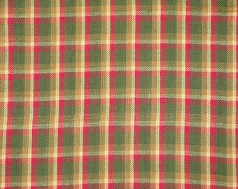 FLAWED Cotton Homespun Material | Holiday Fabric | Cotton Fabric | Plaid Fabric | 1 Yard
