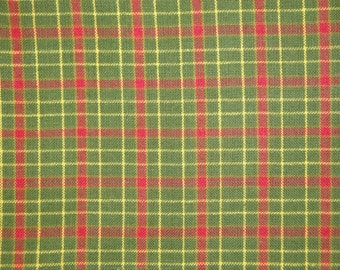 Plaid Cotton Homespun Fabric Green And Red 1 Yard