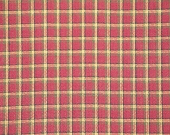 Cotton Homespun Fabric Wine, Green, Black and Natural Window Pane Plaid By The Yard