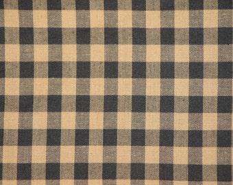 Homespun Large Black Check Cotton Fabric 31 x 44