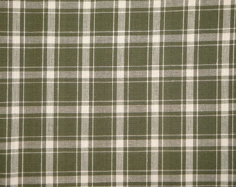 Homespun Cotton Fabric Large Sage Plaid 51 x 44