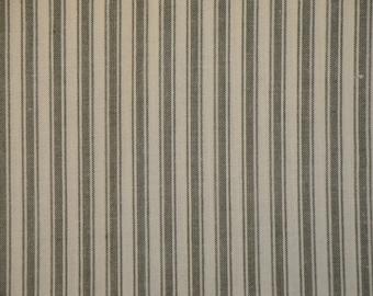 Ticking Homespun Sage Stripe Cotton Fabric 1.5 Yards