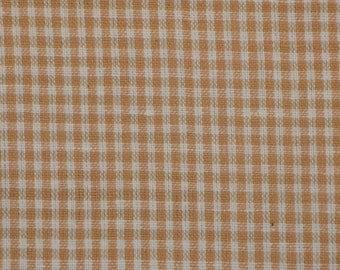 Cotton Fabric | Homespun Fabric | Small Check Fabric |  Wheat Small Check Fabric | 1 Yard