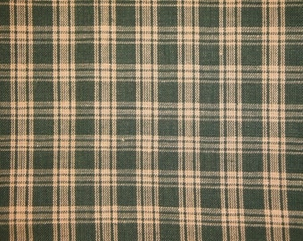 Homespun Fabric | Plaid Fabric | Cotton Fabric | Rag Quilt Fabric | Green Basic Plaid Homespun Fabric | 1 Yard