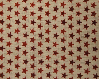 Cotton Star Fabric 1 Yard - David Textile's Artistic Designs Tiny Red Stars