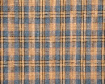 Homespun Cotton Fabric Blue, Khaki And Natural Small Plaid 1 Yard