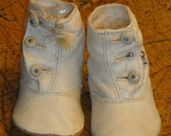 Vintage White Victorian Baby Shoes