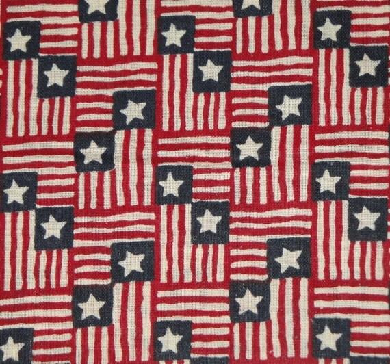 Flag Fabric   Americana Fabric   Star Spangled Flag Print    Cotton Fabric   Destash   1 Yard