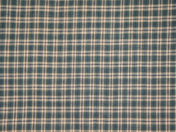 Plaid Homespun Cotton Fabric Green, Tan and Navy Plaid  DESTASH 66 x 44