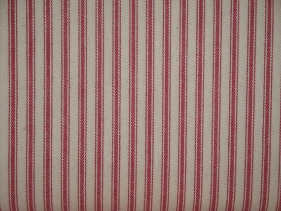 Vintage Inspired Red Cotton Ticking Material 1 Yard