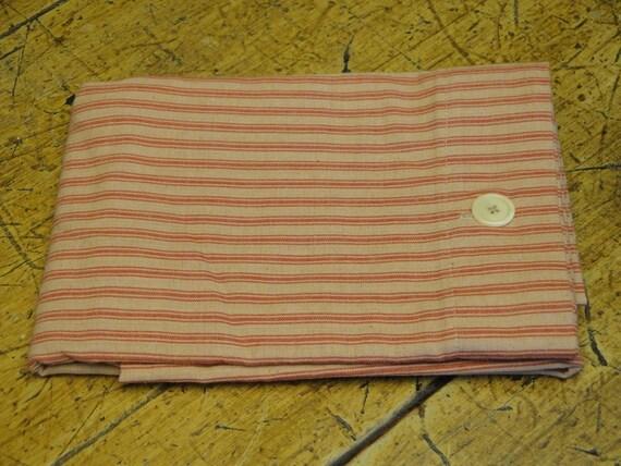 Homespun Red Ticking Fabric Pillow Shams Standard Queen Size