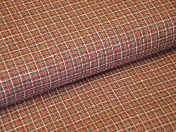 Cotton Homespun Fabric Red, Brown, Light Brown And Natural Small Plaid 1 Yard