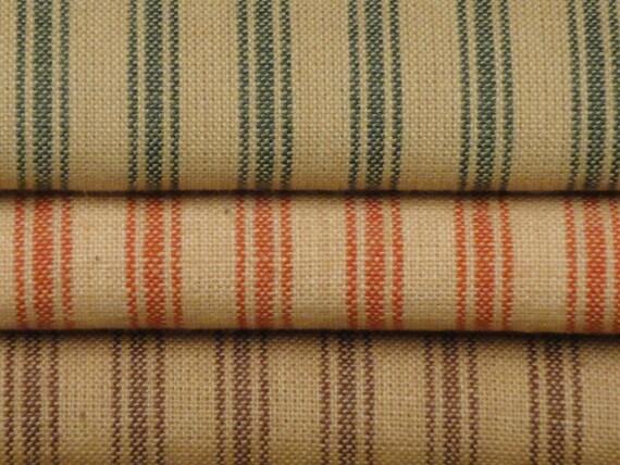 Homespun Cotton Ticking Material Fat Quarter Bundle Of 3