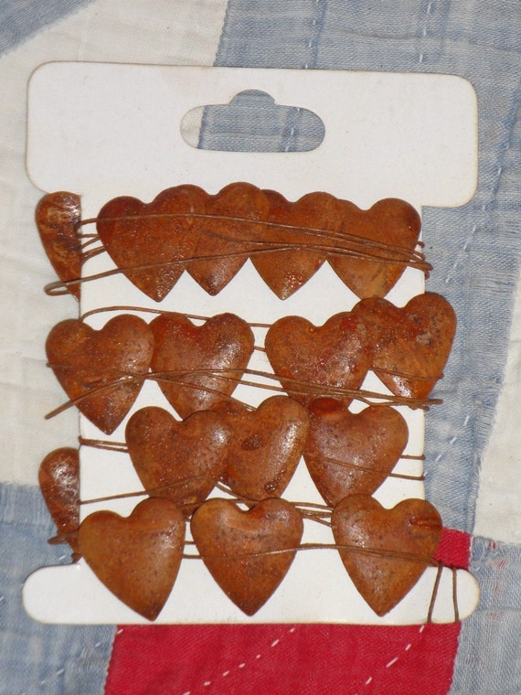 RESERVED LISTING  2 Rusty Tin Heart  Mini Garland and 8 Yards Of Red Homespun Ticking