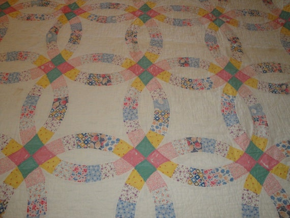 Cutter Quilt Stacker Quilt Vintage Wedding Ring 71 x 80