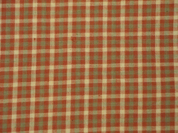 Homespun Material | Plaid Material | DESTASH Material |  Country Red, Tan and Cream Plaid Material |  1 Yard