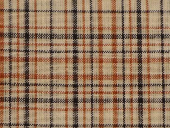 Cream, Orange And Black Plaid Cotton Homespun Material End Of The Bolt