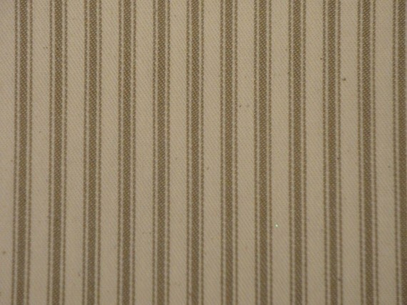 RESERVED Vintage Inspired Taupe Cotton Ticking Stripe Material