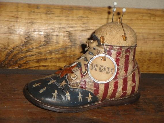 Vintage Hard Sole Baby Shoe Americana Pin Keep Handpainted Handstamped Tag Rusty Star