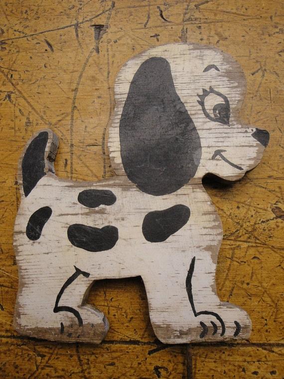 Yard Art  Handpainted Black And White Dogs PAIR Handmade Vintage