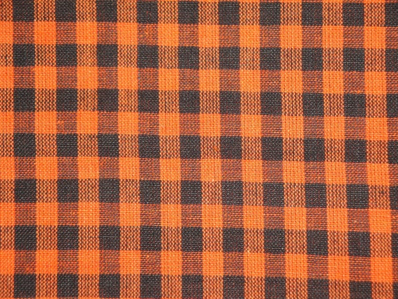 1/4 Check Homespun Fabric Orange And Black  42 inches long x 44/45 inches wide - End Of The Bolt