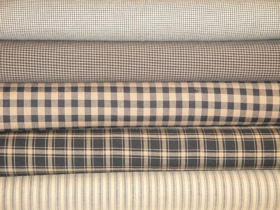 Cotton Homespun Fabric Black Fat Quarter Bundle Of 5 LAST ONE